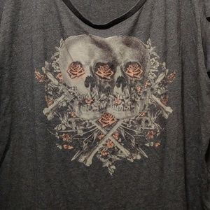 Torrid skulls and roses scoop neck T-shirt